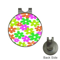 Flowers Floral Sunflower Rainbow Color Pink Orange Green Yellow Hat Clips with Golf Markers