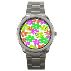 Flowers Floral Sunflower Rainbow Color Pink Orange Green Yellow Sport Metal Watch