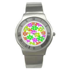 Flowers Floral Sunflower Rainbow Color Pink Orange Green Yellow Stainless Steel Watch