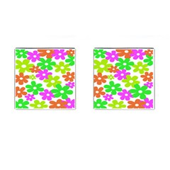 Flowers Floral Sunflower Rainbow Color Pink Orange Green Yellow Cufflinks (square)