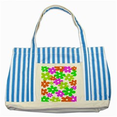 Flowers Floral Sunflower Rainbow Color Pink Orange Green Yellow Striped Blue Tote Bag