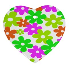 Flowers Floral Sunflower Rainbow Color Pink Orange Green Yellow Heart Ornament (Two Sides)