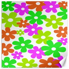 Flowers Floral Sunflower Rainbow Color Pink Orange Green Yellow Canvas 16  X 16