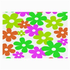 Flowers Floral Sunflower Rainbow Color Pink Orange Green Yellow Large Glasses Cloth (2-Side)