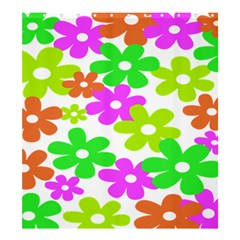 Flowers Floral Sunflower Rainbow Color Pink Orange Green Yellow Shower Curtain 66  x 72  (Large)