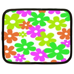 Flowers Floral Sunflower Rainbow Color Pink Orange Green Yellow Netbook Case (XXL)