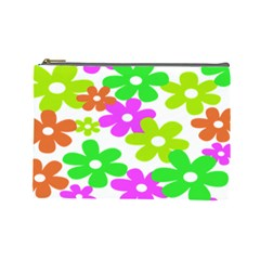 Flowers Floral Sunflower Rainbow Color Pink Orange Green Yellow Cosmetic Bag (Large)