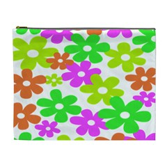 Flowers Floral Sunflower Rainbow Color Pink Orange Green Yellow Cosmetic Bag (XL)