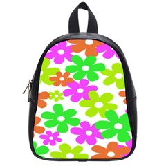 Flowers Floral Sunflower Rainbow Color Pink Orange Green Yellow School Bags (Small)