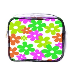 Flowers Floral Sunflower Rainbow Color Pink Orange Green Yellow Mini Toiletries Bags