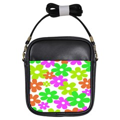 Flowers Floral Sunflower Rainbow Color Pink Orange Green Yellow Girls Sling Bags