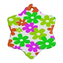 Flowers Floral Sunflower Rainbow Color Pink Orange Green Yellow Ornament (Snowflake)