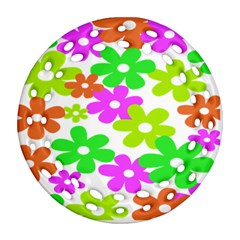 Flowers Floral Sunflower Rainbow Color Pink Orange Green Yellow Round Filigree Ornament (Two Sides)
