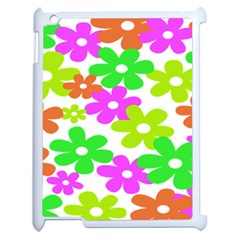 Flowers Floral Sunflower Rainbow Color Pink Orange Green Yellow Apple iPad 2 Case (White)
