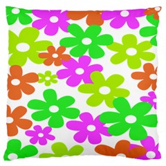 Flowers Floral Sunflower Rainbow Color Pink Orange Green Yellow Large Cushion Case (One Side)