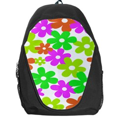 Flowers Floral Sunflower Rainbow Color Pink Orange Green Yellow Backpack Bag