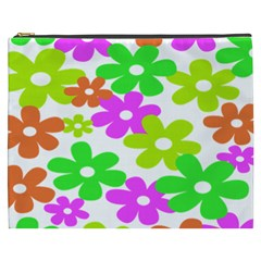 Flowers Floral Sunflower Rainbow Color Pink Orange Green Yellow Cosmetic Bag (XXXL)