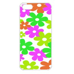 Flowers Floral Sunflower Rainbow Color Pink Orange Green Yellow Apple iPhone 5 Seamless Case (White)