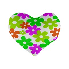 Flowers Floral Sunflower Rainbow Color Pink Orange Green Yellow Standard 16  Premium Heart Shape Cushions
