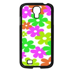 Flowers Floral Sunflower Rainbow Color Pink Orange Green Yellow Samsung Galaxy S4 I9500/ I9505 Case (black)