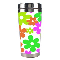 Flowers Floral Sunflower Rainbow Color Pink Orange Green Yellow Stainless Steel Travel Tumblers