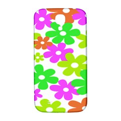 Flowers Floral Sunflower Rainbow Color Pink Orange Green Yellow Samsung Galaxy S4 I9500/I9505  Hardshell Back Case