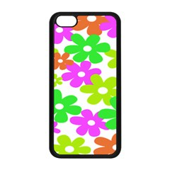 Flowers Floral Sunflower Rainbow Color Pink Orange Green Yellow Apple Iphone 5c Seamless Case (black)