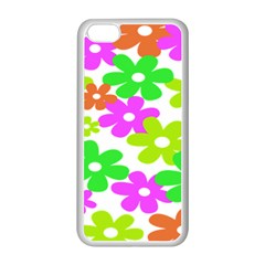 Flowers Floral Sunflower Rainbow Color Pink Orange Green Yellow Apple Iphone 5c Seamless Case (white)