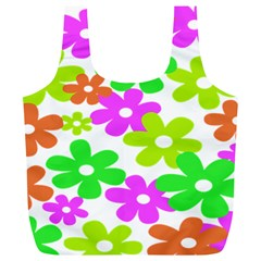Flowers Floral Sunflower Rainbow Color Pink Orange Green Yellow Full Print Recycle Bags (L)
