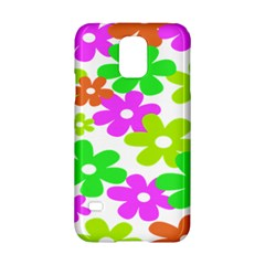 Flowers Floral Sunflower Rainbow Color Pink Orange Green Yellow Samsung Galaxy S5 Hardshell Case