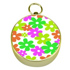 Flowers Floral Sunflower Rainbow Color Pink Orange Green Yellow Gold Compasses