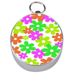 Flowers Floral Sunflower Rainbow Color Pink Orange Green Yellow Silver Compasses