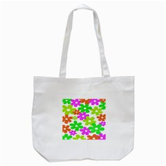 Flowers Floral Sunflower Rainbow Color Pink Orange Green Yellow Tote Bag (White)
