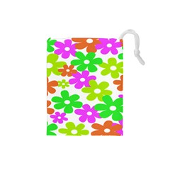 Flowers Floral Sunflower Rainbow Color Pink Orange Green Yellow Drawstring Pouches (Small)