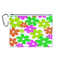 Flowers Floral Sunflower Rainbow Color Pink Orange Green Yellow Canvas Cosmetic Bag (L)