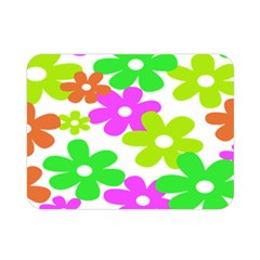 Flowers Floral Sunflower Rainbow Color Pink Orange Green Yellow Double Sided Flano Blanket (mini)
