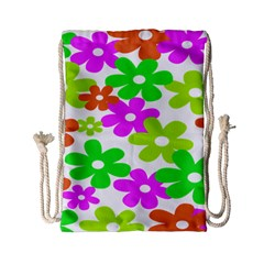 Flowers Floral Sunflower Rainbow Color Pink Orange Green Yellow Drawstring Bag (Small)