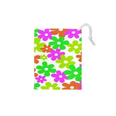 Flowers Floral Sunflower Rainbow Color Pink Orange Green Yellow Drawstring Pouches (XS)