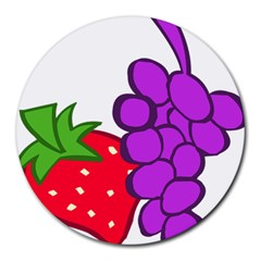 Fruit Grapes Strawberries Red Green Purple Round Mousepads