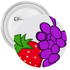 Fruit Grapes Strawberries Red Green Purple 3  Buttons