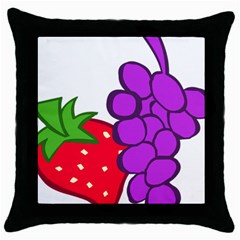 Fruit Grapes Strawberries Red Green Purple Throw Pillow Case (Black)