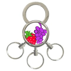 Fruit Grapes Strawberries Red Green Purple 3-Ring Key Chains