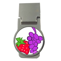 Fruit Grapes Strawberries Red Green Purple Money Clips (Round)