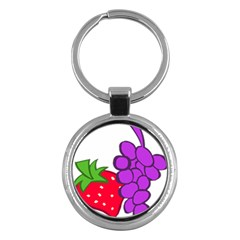 Fruit Grapes Strawberries Red Green Purple Key Chains (round)