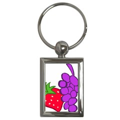 Fruit Grapes Strawberries Red Green Purple Key Chains (Rectangle)
