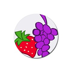 Fruit Grapes Strawberries Red Green Purple Rubber Coaster (Round)