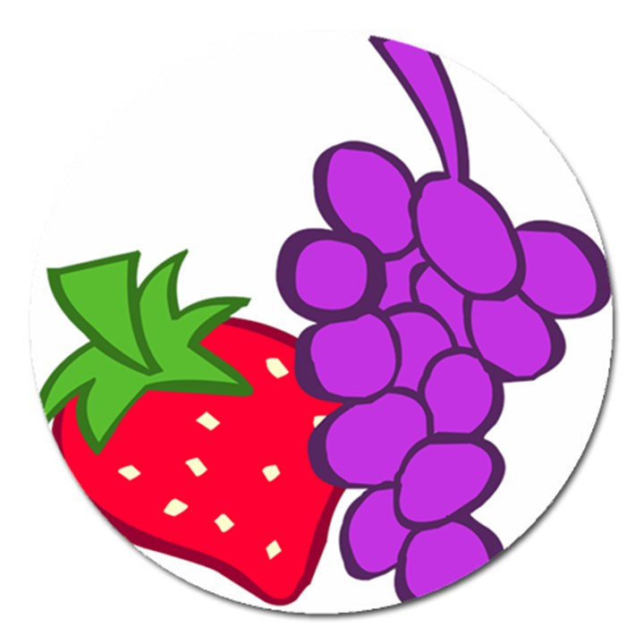 Fruit Grapes Strawberries Red Green Purple Magnet 5  (Round)