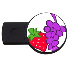 Fruit Grapes Strawberries Red Green Purple USB Flash Drive Round (2 GB)