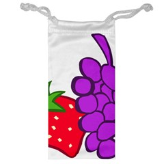 Fruit Grapes Strawberries Red Green Purple Jewelry Bag
