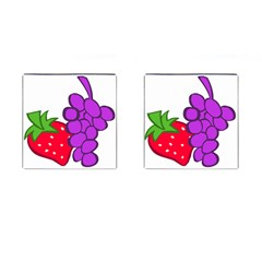 Fruit Grapes Strawberries Red Green Purple Cufflinks (square)